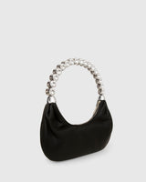 L'alingi London Black Banana Luxury Handbag with Swarovski stones