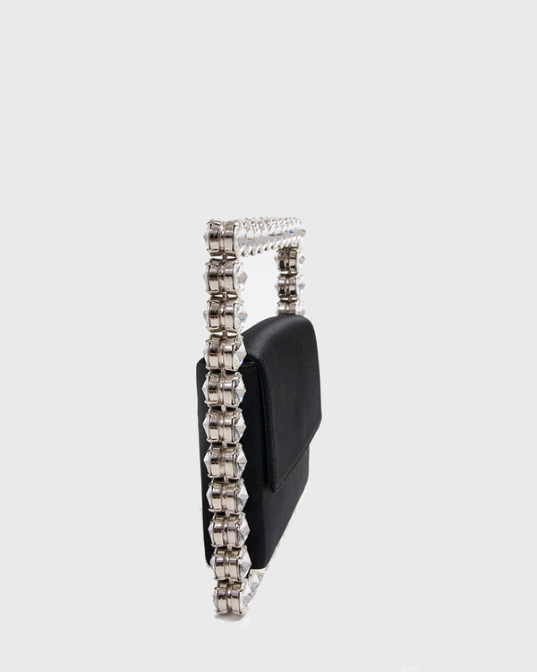 L'alingi London Eternity Black Square Luxury Clutch with Swarovski stones