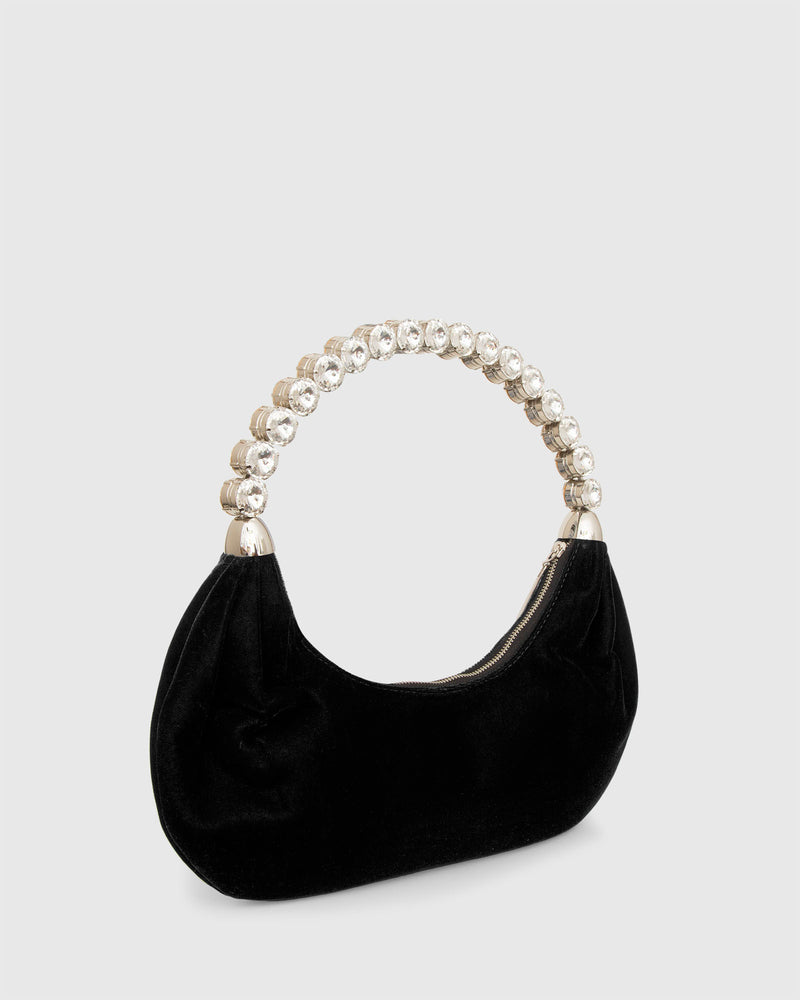 L'alingi London Black Velvet Banana Luxury Handbag with Swarovski stones