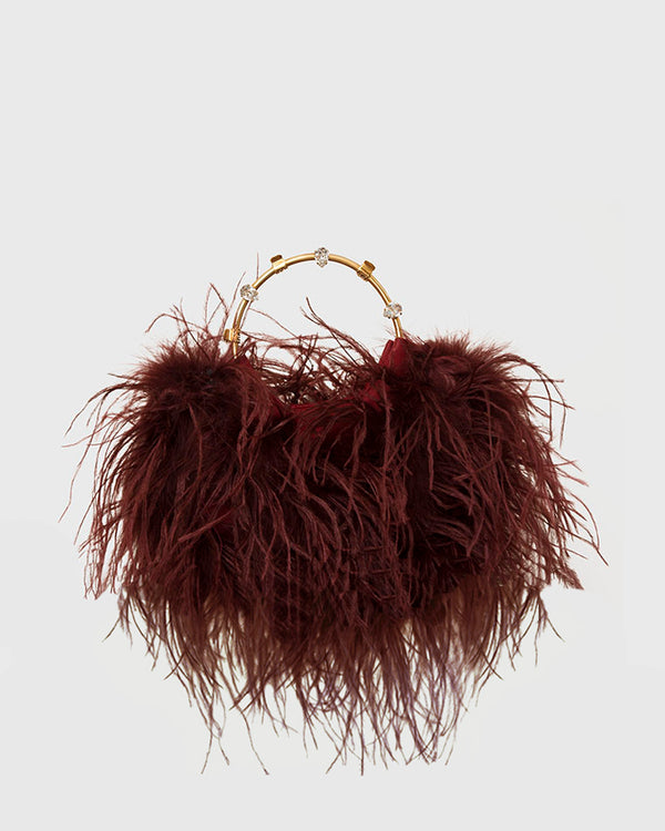 L'alingi London Pouch bURGUNDY Feathers Luxury Clutch