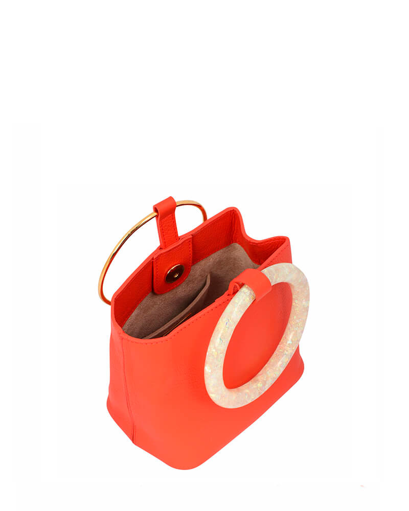 L'alingi London Coral Bangal Bucket Luxury Clutch