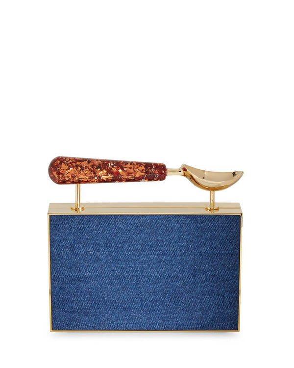 L'alingi London Denim Jasmina Luxury Clutch with Swarovski Stones