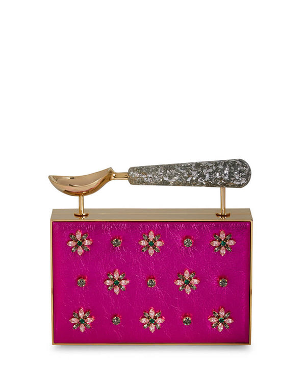 L'alingi London Hot Pink Jasmina Luxury Clutch with Swarovski Stones