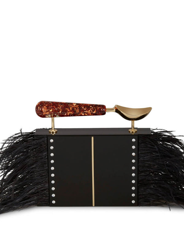 L'alingi London Jasmina Feathers Luxury Clutch with Swarovski Stones