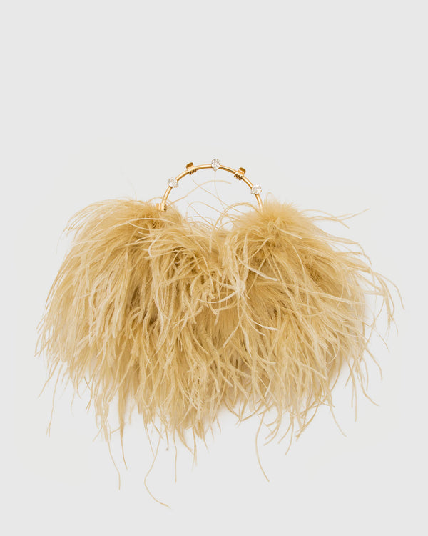 L'alingi London Pouch Light Gold Feathers Luxury Clutch