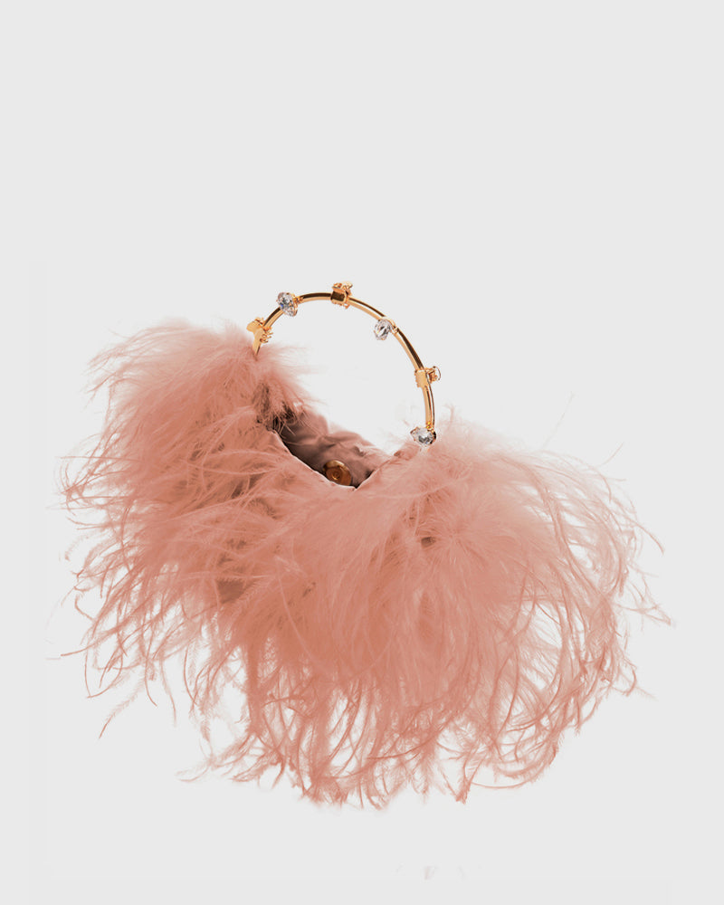L'alingi London Pouch Nude Feathers Luxury Clutch