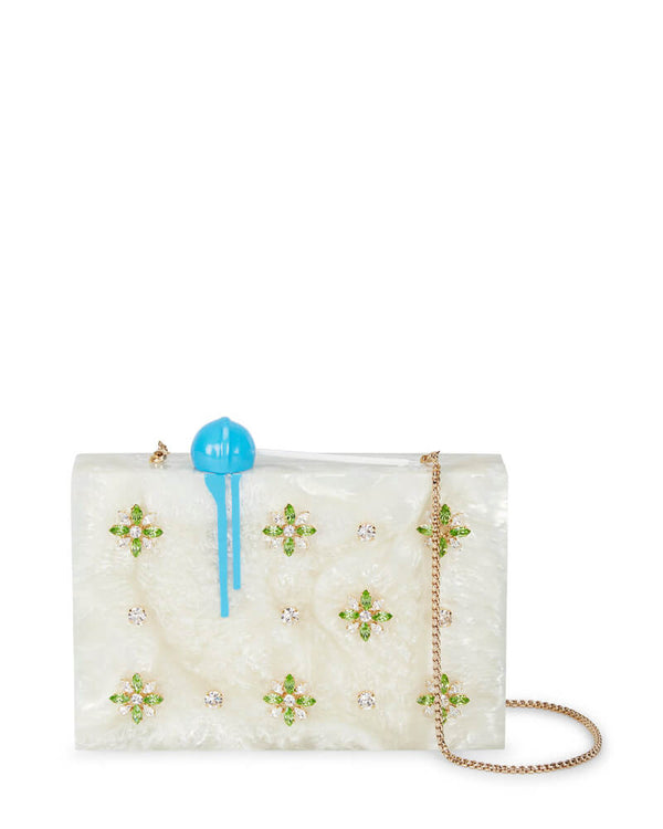 L'alingi London Lolly Pearl Luxury Clutch with Swarovski Stones