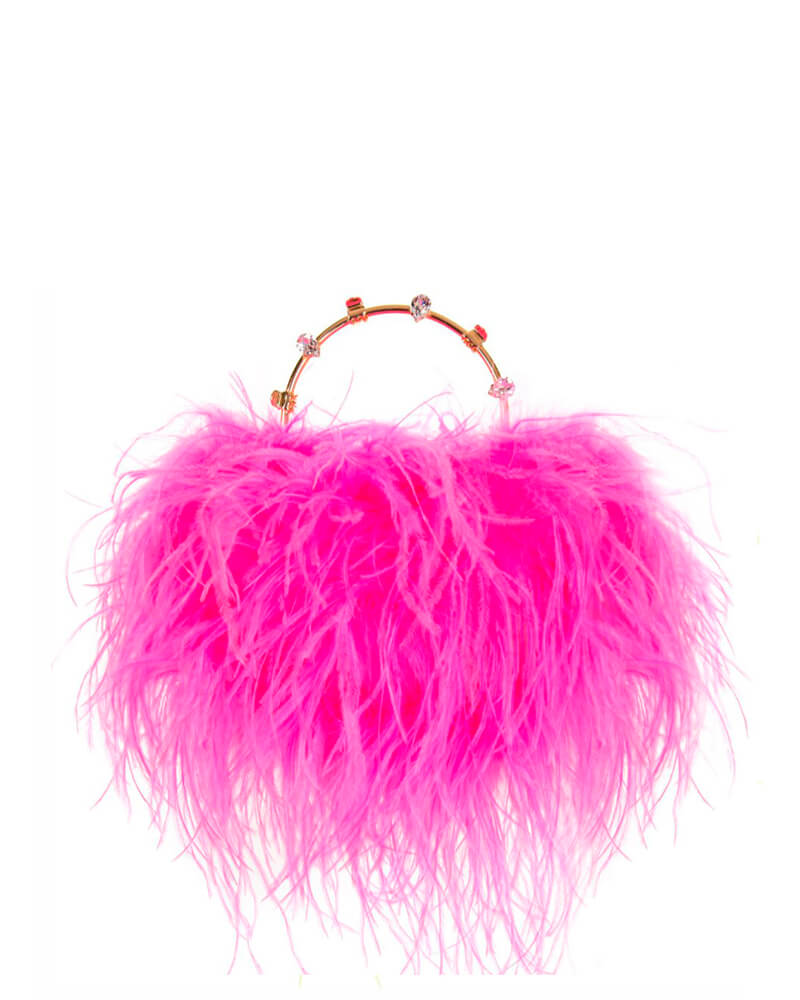 L'alingi London Pouch Neon Pink Feathers Luxury Clutch