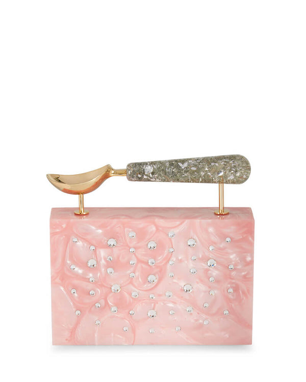 L'alingi London Powder Pink Jasmina Pearl Luxury Clutch with Swarovski Stones