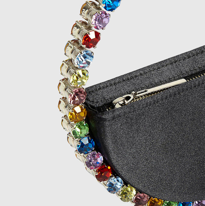 L'alingi London Eternity Black Luxury Clutch with Rainbow Swarovski stones