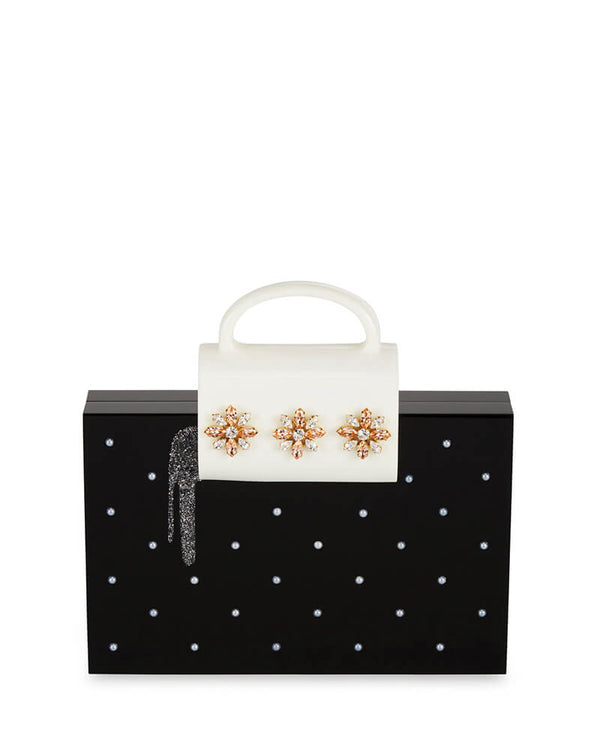 L'alingi London Salma Pearl Luxury Clutch with Swarovski Stones