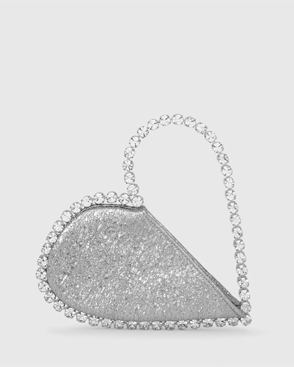 L'alingi London Silver Metallic Love Luxury Clutch