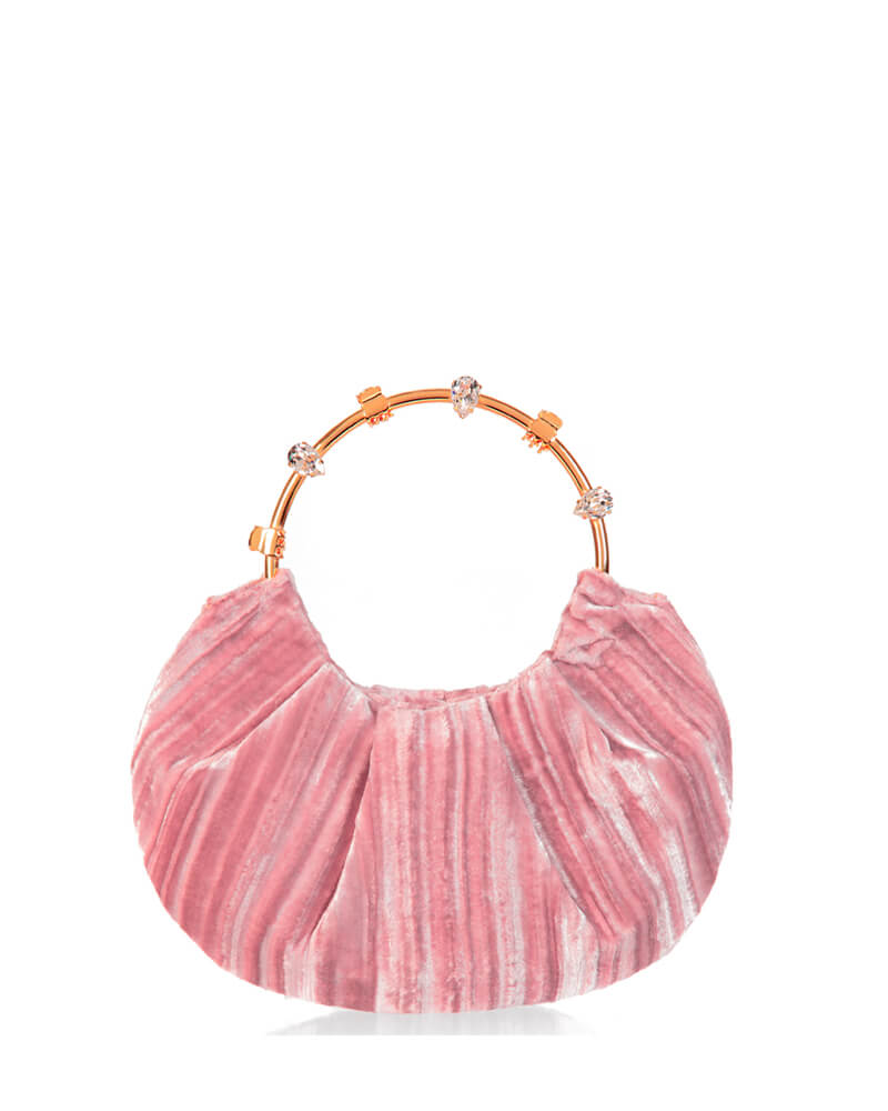 L'alingi London Pouch Pink Velvet Luxury Clutch