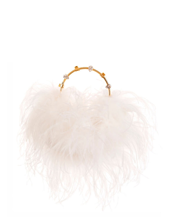 L'alingi London Pouch White Feathers Luxury Clutch