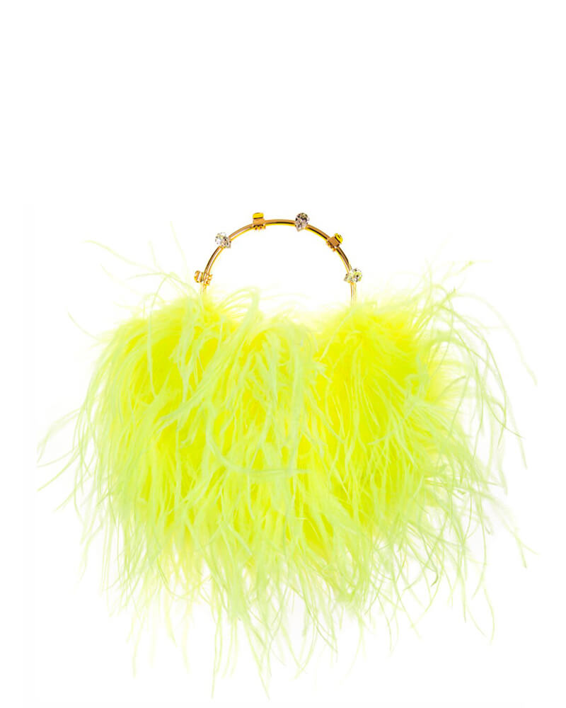 L'alingi London Pouch Neon Yellow Feathers Luxury Clutch