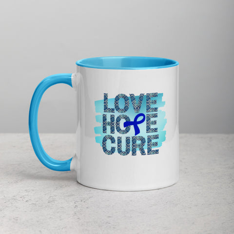 Blue Awareness Ribbon, Coffee Mug, Tea Mug, Coffee Lovers, Tea Lovers, Colon Cancer Awareness, Mug Collector, Mug Lover