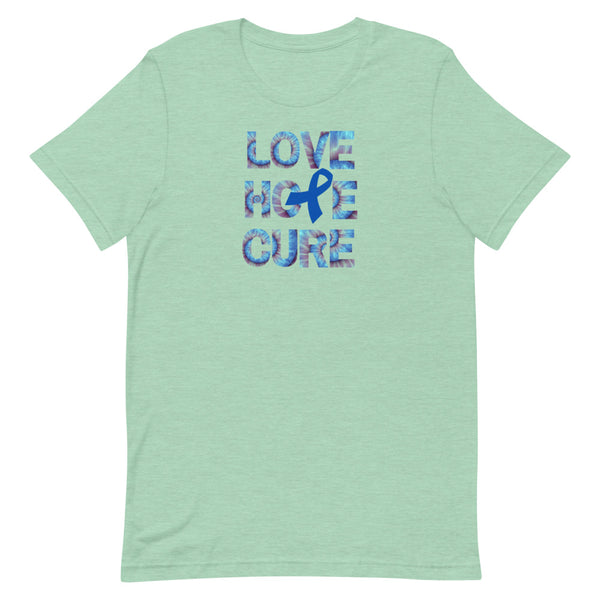 Dark Blue Awareness Ribbon, Colon Cancer Awareness Tee, Short-Sleeve Unisex T-Shirt, Tie Dye Lettering Tee