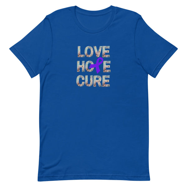 Purple Awareness Ribbon Short-Sleeve Unisex T-Shirt, Cancer Awareness, Fibro Awareness Tee, Lupus Awareness T-Shirt