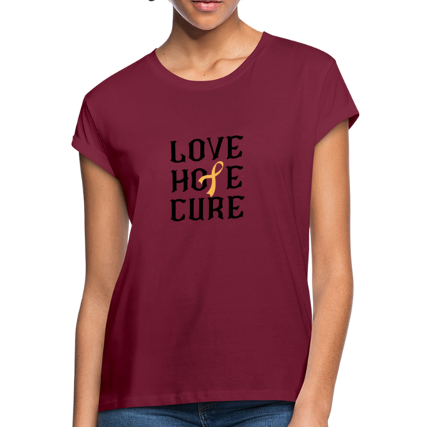 Peach Awareness Ribbon Shirt - burgundy