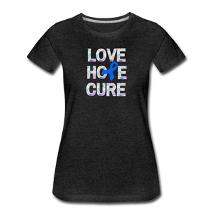 Blue Awareness Ribbon, Colon Cancer Awareness - charcoal gray