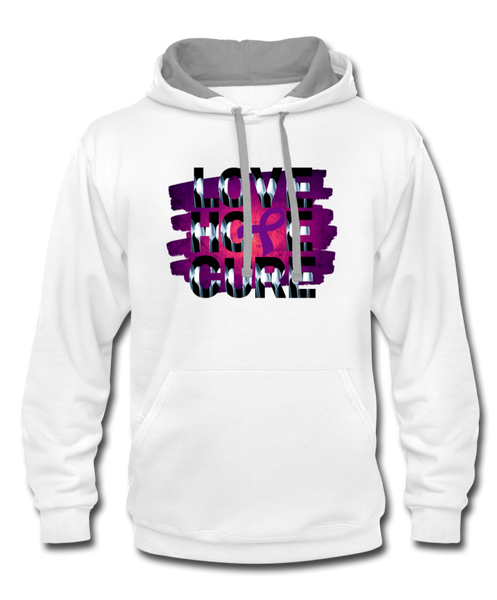 Purple Awareness Ribbon Hoodie - white/gray