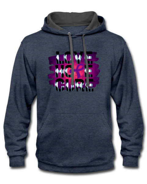 Purple Awareness Ribbon Hoodie - indigo heather/asphalt