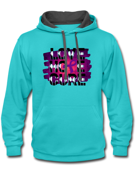 Purple Awareness Ribbon Hoodie - scuba blue/asphalt