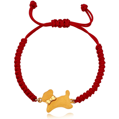 24K Gold Chinese Zodiac Dog Bracelet