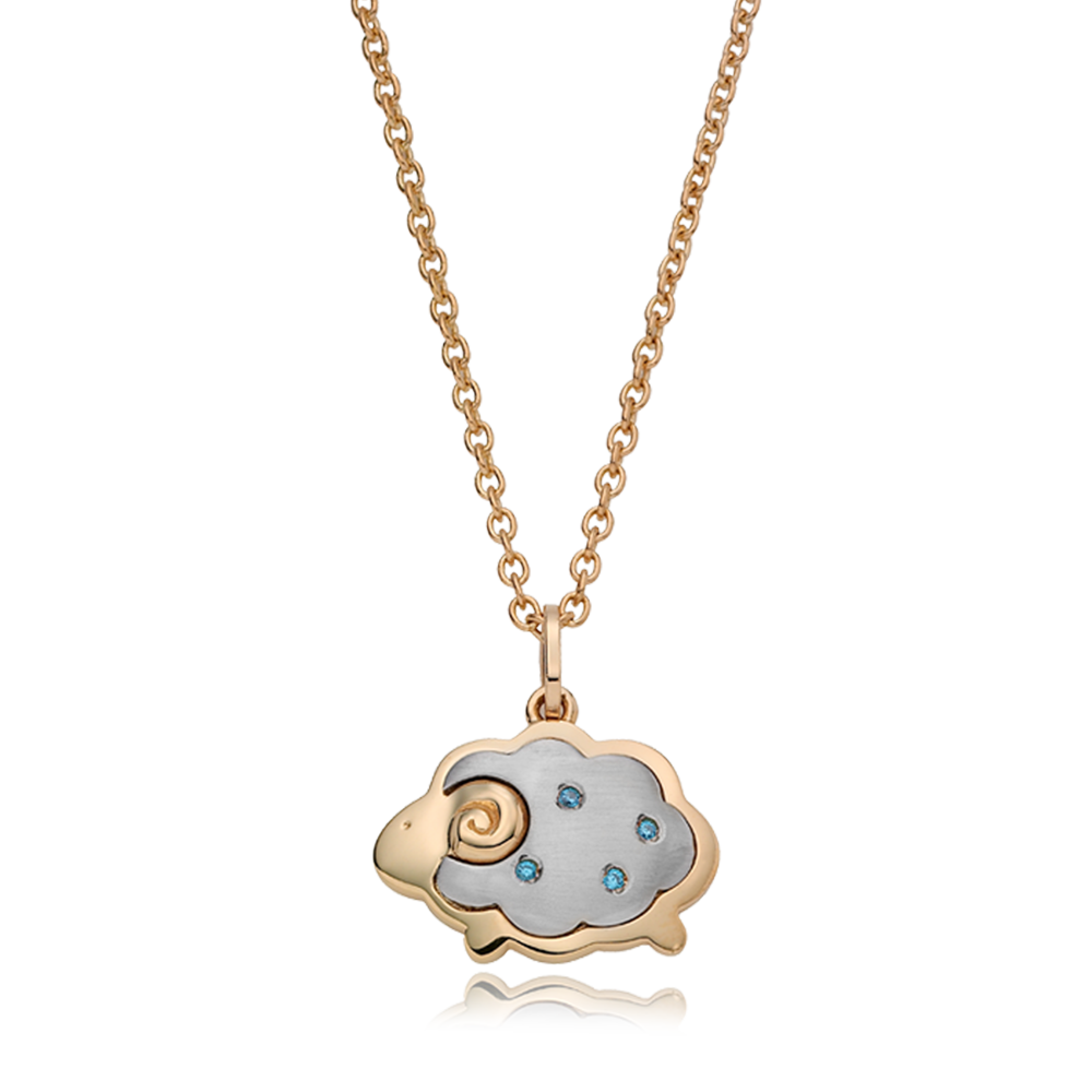 14K/18K Gold Chinese Zodiac Sheep(Blue) Necklace