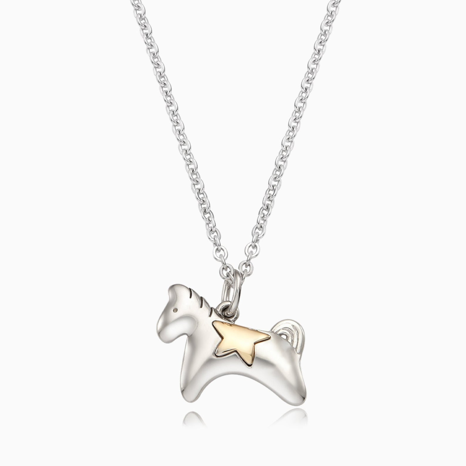 Personalized 5K Sterling Silver Chinese Zodiac Horse Necklace