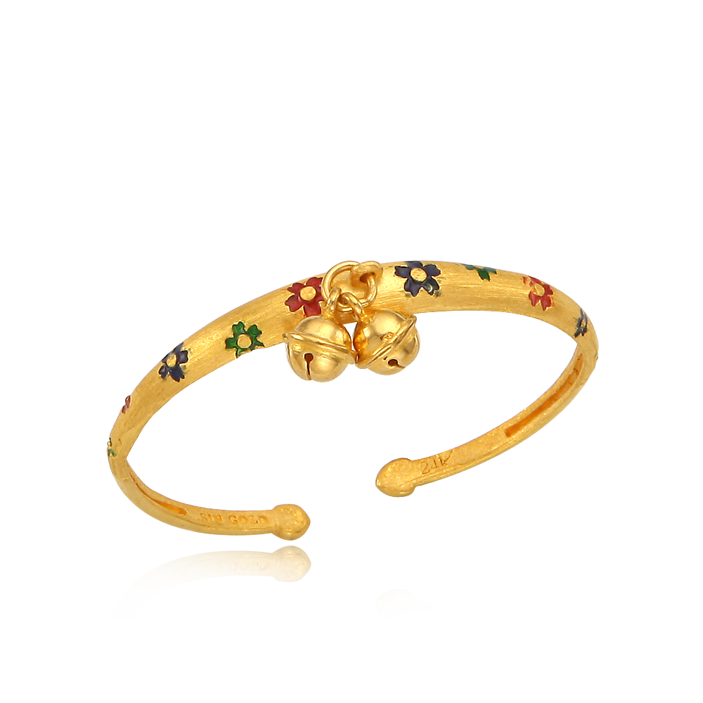 24K Pure Gold Cloisonne The first birthday baby bracelet (11.25g )