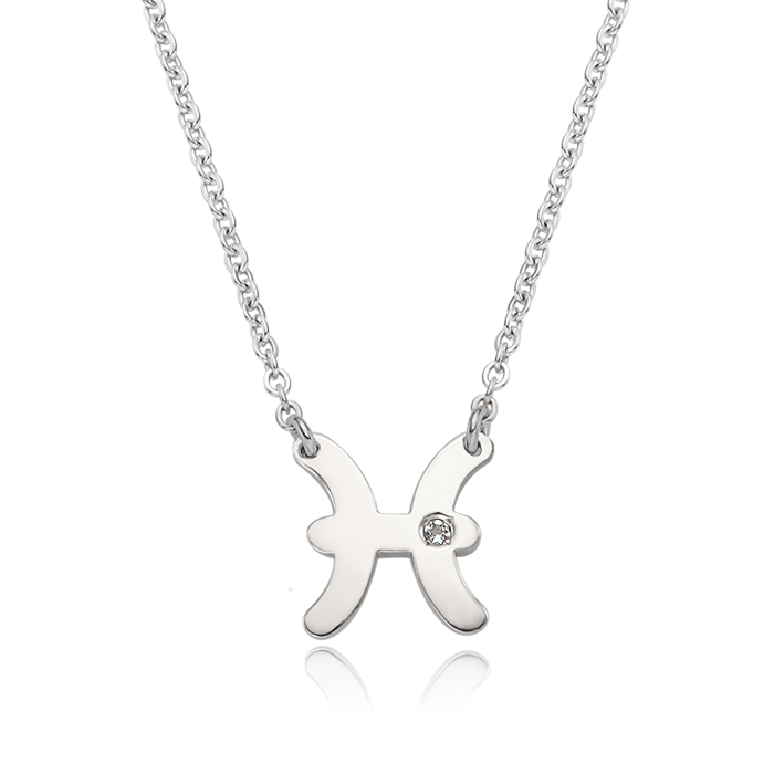 Silver Zodiac Sign Pisces (February 19 ~ March 20) Necklace
