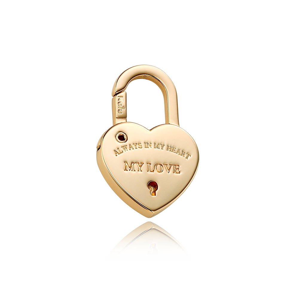 Heart Lock Shape Dog Name Pendant in Yellow Gold