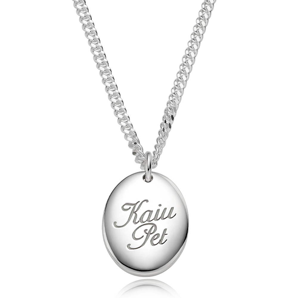 Silver Engraved Modern Oval Cursive(4.0mm Curb Chain) Necklace for Dogs