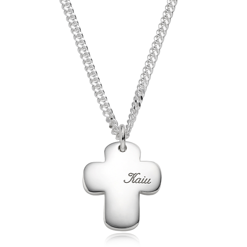 Silver Engraved Cross Bold (L) Cursive(3.4mm Curb Chain) Necklace for Dogs