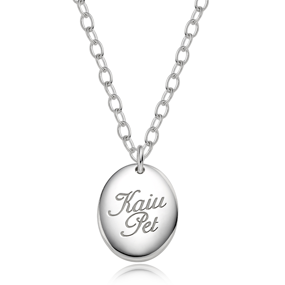 Silver Engraved Modern Oval Cursive(4.0mmCableChain) Necklace for Dogs