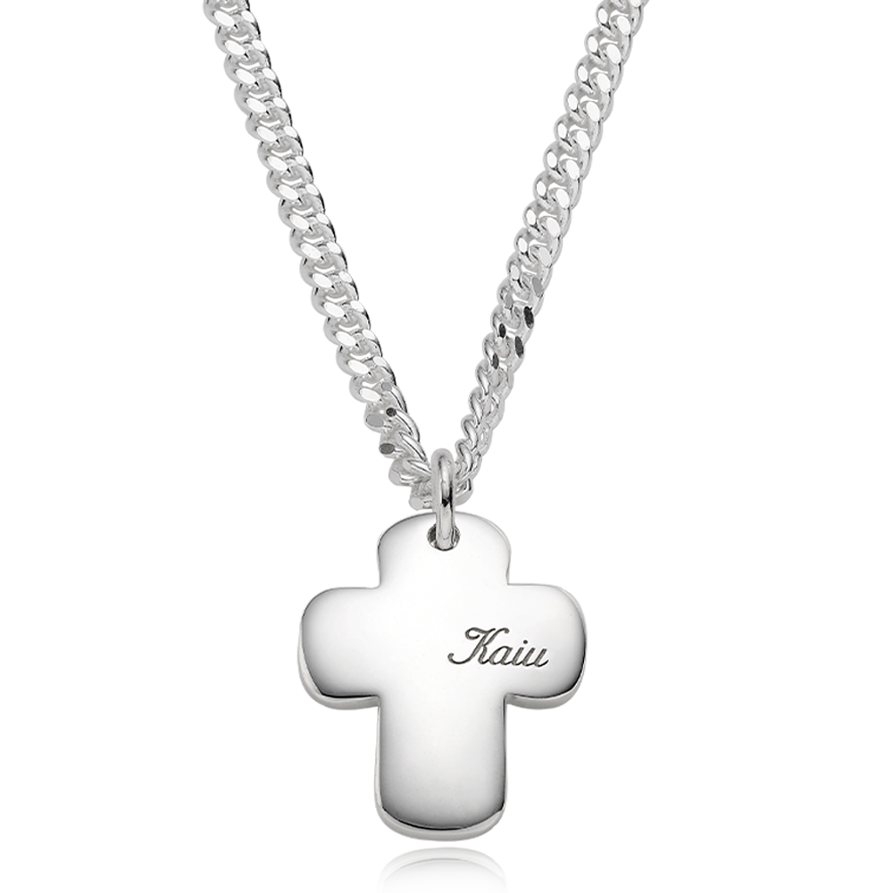 Silver Engraved Cross Bold (L) Cursive(4.0mm Curb Chain) Necklace for Dogs