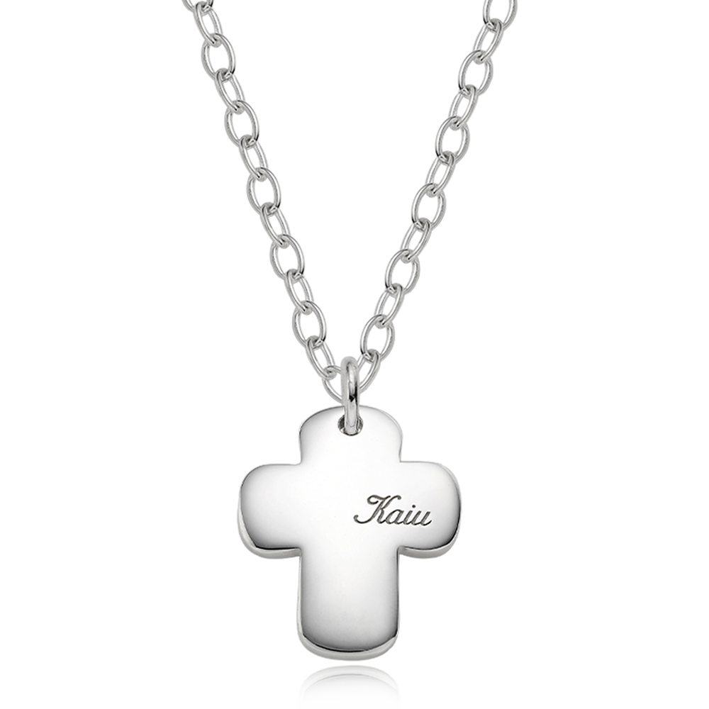 Silver Engraved Cross Bold (L) Cursive(4.0mm Cable Chain) Necklace for Dogs