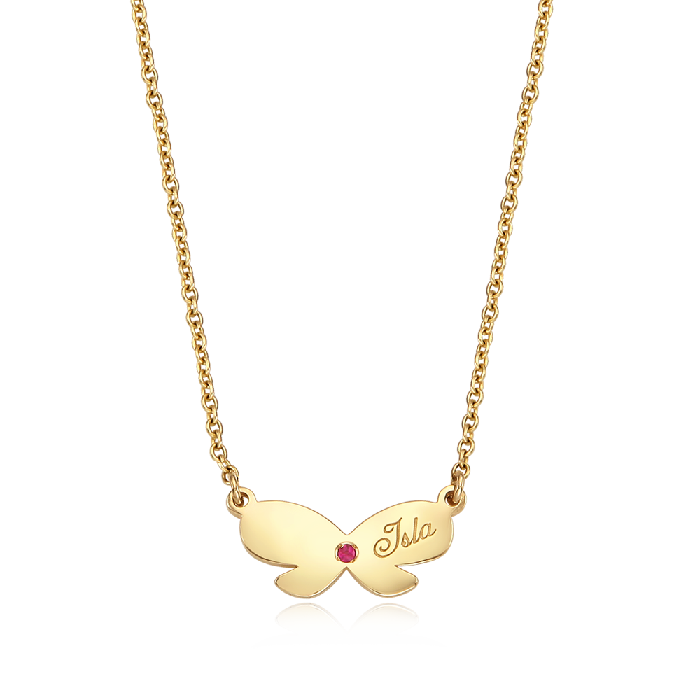 14K / 18K Gold Birthstone Ribbon Necklace