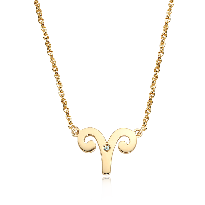 14K/18K Solid Gold Aries (March 21 ~ April 19) Zodiac Sign Necklace