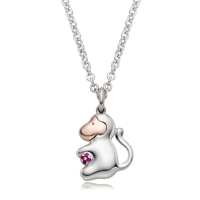 Personalized 5K Sterling Silver Chinese Zodiac Monkey Necklace