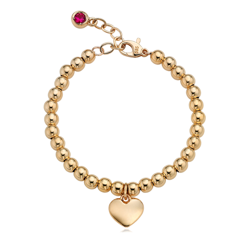 14K Gold Heart Pendant 4.0mm Ball Birthstone Bracelet