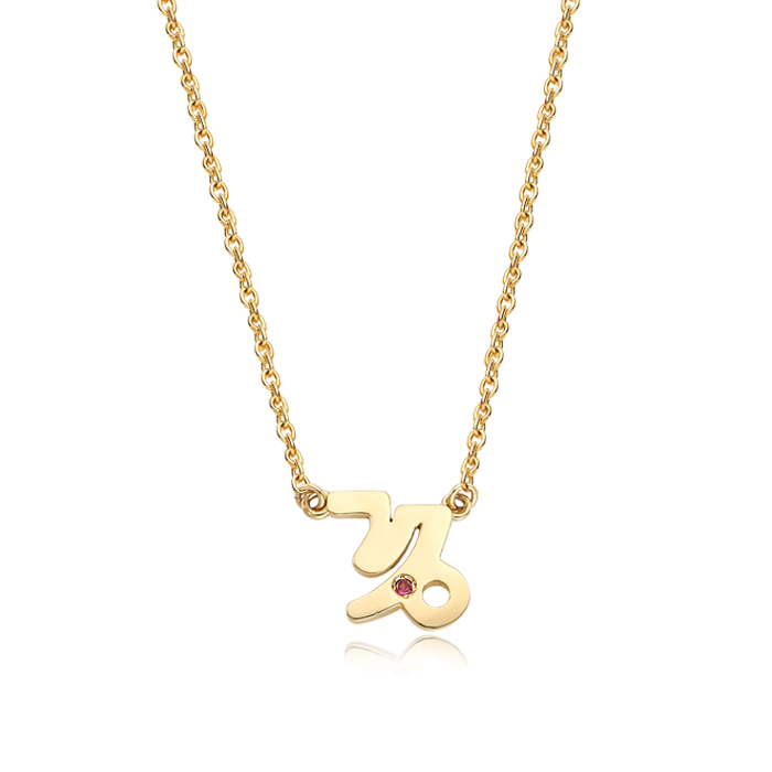 14K/18K Solid Gold Capricorn (December 22 ~ January 19) Zodiac Sign Necklace