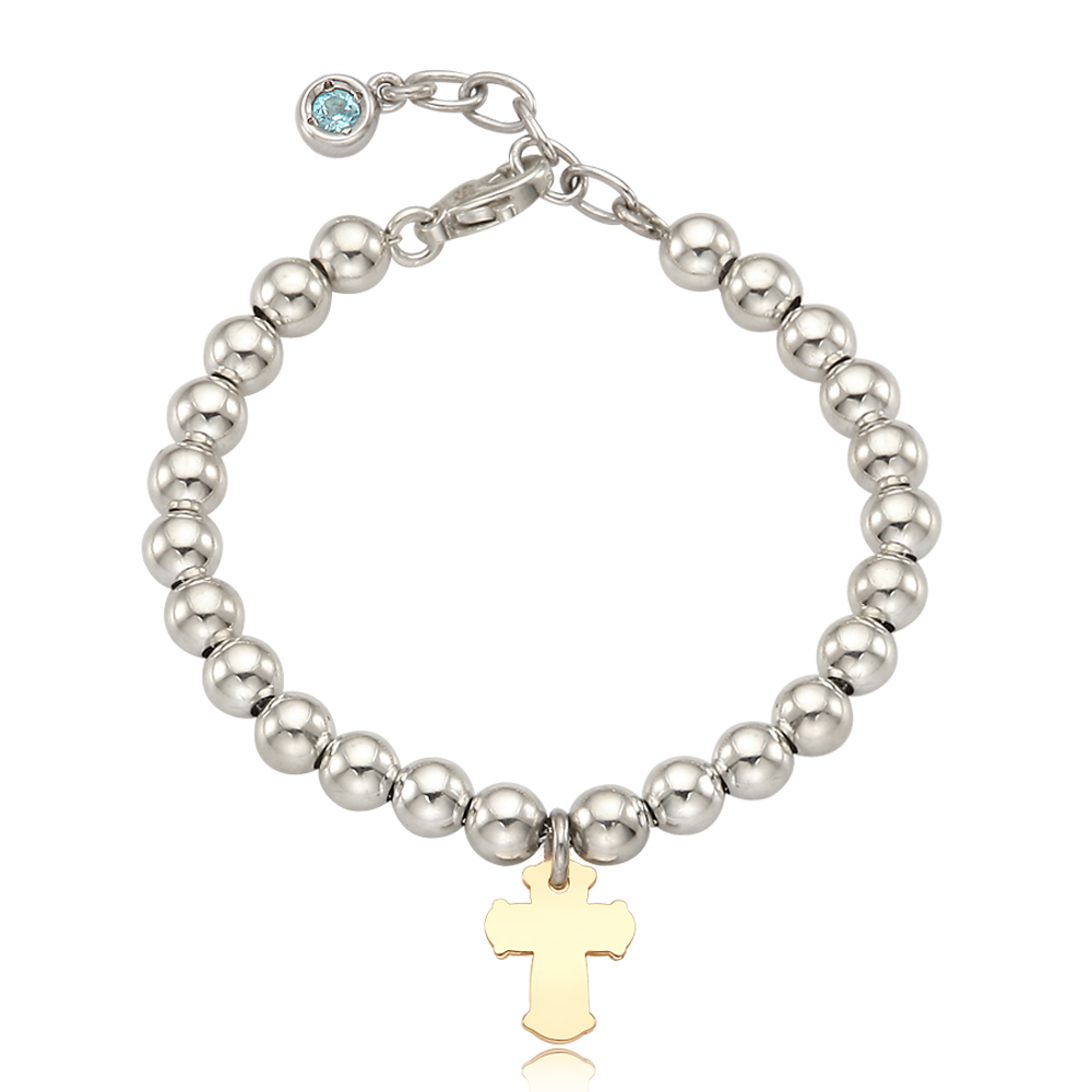 5K Gold Cross Charm Sterling Silver Bead Birthstone Bracelet-16cm [ Personalized Engraving ]