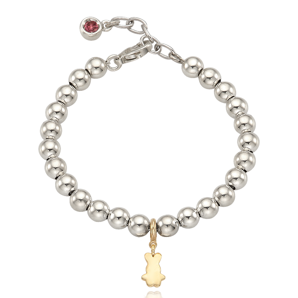 5K Gold Mini Rabbit Charm Sterling Silver Bead Birthstone Bracelet-16cm