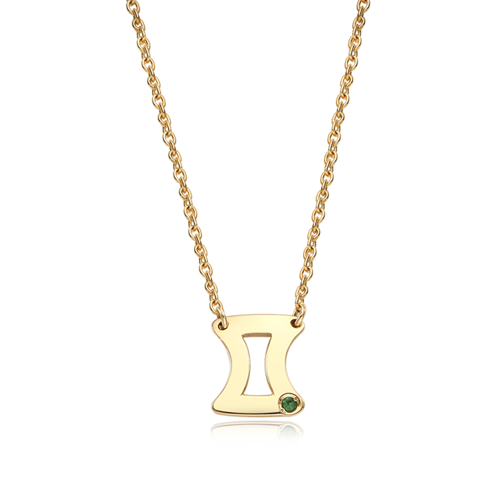 14K/18K Solid Gold Gemini (May 21 ~June 21) Zodiac Sign Necklace