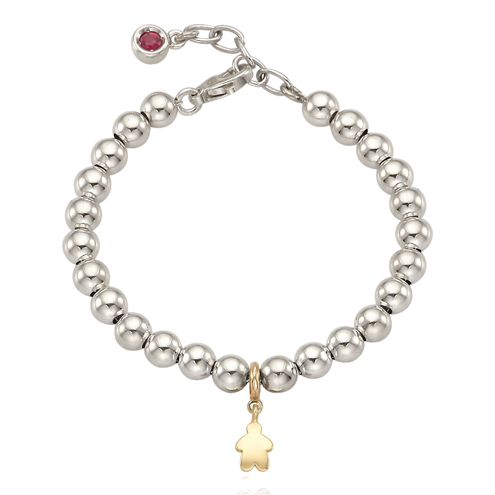 5K Gold Mini Kid Charm Sterling Silver Bead Birthstone Bracelet-16cm