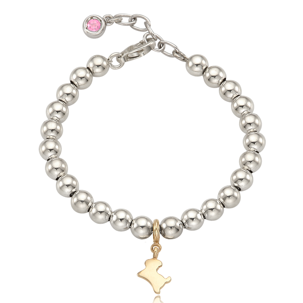 5K Gold Mini Dog Charm Sterling Silver Bead Birthstone Bracelet-16cm