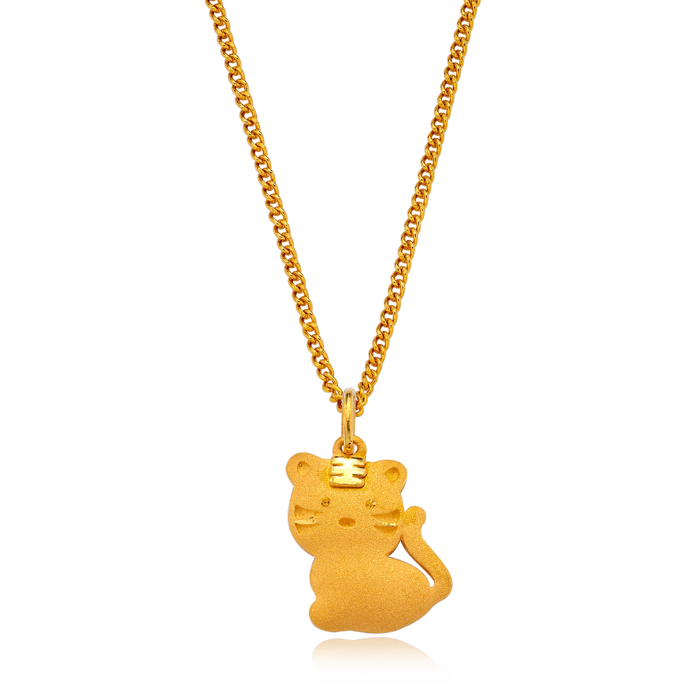 24K Pure Gold Oriental Zodiac Tiger Necklace