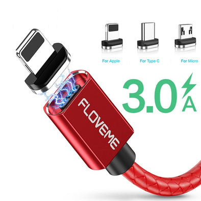 FLOVEME 3A Magnetic Cable Micro USB Type C Cable For iPhone 1M Fast Charging